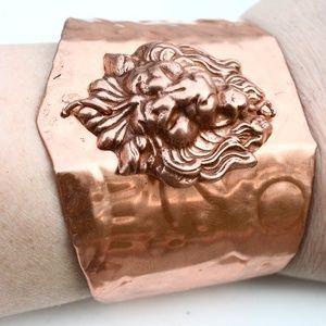 Lion Cuff Copper Wide Bracelet Gladiator Embossed
